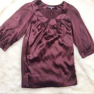 •VINCE Purple Long Sleeve Silk Crew Neck•